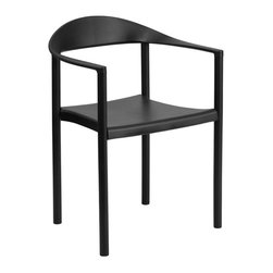 Flash Furniture - Flash Furniture Hercules Plastic Cafe Stack Chair in Black - Flash Furniture - Stacking Chairs - RUT418BKGG - The Cafe Chair by Flash Furniture will add value and offer an attractive presence to your Cafe Diner Restaurant Banquet Facility or Home. This chair has a curvaceous back seat and arms that is pleasing to the eye and offered at an affordable price.