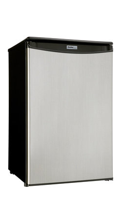 Danby - 4.4 CuFt. Compact All Refrig,Auto Cycle Defrost,5-Bottle Wire Rack - The Danby DAR125SLDD Energy Star 4.4 Cu. Ft. Designer Compact All Refrigerator offers additional refrigeration in a compact space. It has a scratch-resistant worktop, spotless steel door, reversible door hinge and an integrated handle for sleek styling. The interior includes a light, CanStor dispenser, 2 full and 1 half shelves amd a see-thru vegetable crisper for maximum storage versatility. This unit will efficiently meet all of your needs.Energy Star 4.4 cu. ft. (124.6 litre) capacity compact refrigerator|Scratch resistant work-top|2 full shelves and 1 half shelf for maximum storage versatility|Crisper with glass top|Automatic defrost and mechanical thermostat|Interior light|Reversible door hinge for right and left hand opening|Integrated door handle|Tall bottle storage and CanStor beverage dispenser|Color: Black / Steel|  danby| dar125sldd| dar 125sldd| refrigerator| compact| designer| 4.4 cu. ft.| defrost| thermostat| 2.5 shelves| bottle| canstor| reversible| energy| s  Package Contents: refrigerator|manual|warranty  This item cannot be shipped to APO/FPO addresses