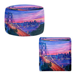 DiaNoche Designs - Ottoman Foot Stool  - San Francisco Nights - Lightweight, artistic, bean bag style Ottomans. You now have a unique place to rest your legs or tush after a long day, on this firm, artistic furtniture!  Artist print on all sides. Dye Sublimation printing adheres the ink to the material for long life and durability.  Machine Washable on cold.  Product may vary slightly from image.