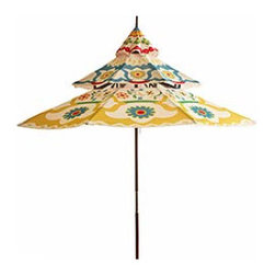 9-Foot Pagoda Umbrella - So many outdoor unbrellas are such a yawn. So are so many patios and decks, come to think of it. This charming and exuberant pagoda umbrella can change all that by simply opening.