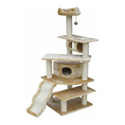 "Go Pet Club - 70"" Faux Fur Cat Tree - Features: -70"" cat tree. -Covering material : Faux fur. -Board material : Wood. -Number of Posts : 11. -Number of levels : 8. -Posts covered by natural sisal rope. -Easy to assemble with step by step instruction and tools included. -Assembly required. Specifications: -Base board dimensions: 24"" W x 24"" L. -Ramp scratching board dimensions: 10"" W x 25"" L. -Top bed: 4"" H x 15"" W. -Condo: 10"" H x 14"" W x 14"" L. -Overall dimensions: 70"" H x 38"" W x 26"" L."