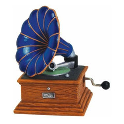 "WL - 3.5"" Blue Musical Hand Crank with Gramophone Record Player Figurine - This gorgeous 3.5"" Blue Musical Hand Crank with Gramophone Record Player Figurine has the finest details and highest quality you will find anywhere! 3.5"" Blue Musical Hand Crank with Gramophone Record Player Figurine is truly remarkable."