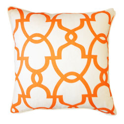 JITI - Dean Orange Cream Pillow - Orange and cream. A combination as appealing in decor as it is in ice cream. Give your sofa or bed a tasty update with this tantalizing orange and cream throw pillow with feather and down insert.