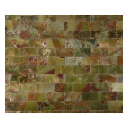 "Green Polished Mesh-Mounted Onyx Mosaic Tiles 2"" x 4"" - 2"" x 4"" Green Onyx Mesh-Mounted Mosaic Tile is a great way to enhance your decor with a traditional aesthetic touch. This Polished Mosaic Tile is constructed from durable, impervious Onyx material, comes in a smooth, unglazed finish and is suitable for installation on floors, walls and countertops in commercial and residential spaces such as bathrooms and kitchens."