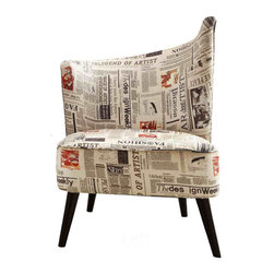 Armen Living - Elegant Accent Chair with Left Flared Back in Newspaper Fabric - Combining retro-chic charm with a contemporary flair, make this an eye-catching addition to your living room, den, or master suite.
