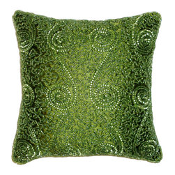 None - Celebration Swirl Green Beaded Decorative Pillows (Set of 2) - A timeless hand crafted design radiates in this set of decorative pillows featuring a green hand-beaded swirl design. Complete with knife edging and 100-percent poly fill.
