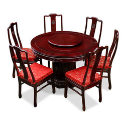 China Furniture and Arts - 48in Rosewood Longevity Design Round Dining Table with 6 Chairs - Exhibiting its pleasing simple lines in a distinct Ming (1368-1644) style, this exquisite dining set is intricately carved in Chinese key on the apron of the table and longevity symbols on the slap of the chairs. Completely handmade in solid rosewood by artisans in China, using the traditional joinery technique. One removable lazy Susan is included for your convenience. Hand applied dark cherry finish.