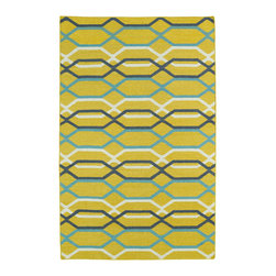 """Kaleen - Kaleen Glam Collection Gla01-28 2'6""""X8' Yellow - The Glam collection puts the fab in fabulous! No matter if your decorating style is simplistic casual living or Hollywood chic, this collection has something for everyone! New and innovative techniques for a flatweave rug, this collection features beautiful ombre colorations and trendy geometric prints. Each rug is handmade in India of 100% wool and is 100% reversible for years of enjoyment and durability."""