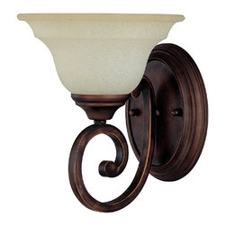 Capital Lighting - Capital Lighting Chandler Transitional Wall Sconce X-292-BB1871 - An elegant and classic scrolling arm with bold lines holds up a single light on this Capital Lighting wall sconce. From the Chandler Collection, this Burnished Bronze wall sconce also features an elegant mist scavo glass shade with coordinating traditional trim that pulls the design together.