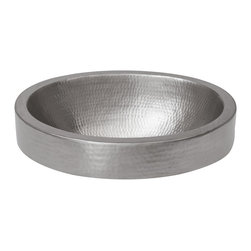 Premier Copper Products - Oval Skirted Vessel Hammered Copper Sink in Electroless Nickel - BRAND: Premier Copper Products