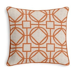 Orange & Natural Modern Trellis Custom Throw Pillow - Black and white photos, Louis XIV chairs, crown molding: classic is always classy. So it is with this long-time decorator's favorite: the Corded Throw Pillow. We love it in this teal geometric trellis on thick natural cotton. A bold statement of modern meets rustic.