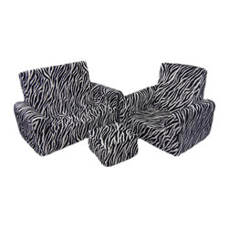 Fun Furnishings - Fun Furnishing Sofa Chair and Ottoman Set Zebra - The toddler sofa, chair and ottoman set is a comfy place for toddlers to play and visit with friends. Kids will love the light weight, yet firm and comfy, all foam construction. Littile hands can move the set easiliy from room to room to have their very own seating! The removeable slip covers make this easy care for mom! Comfortable, durable and roomy, this seating set is sure to last and be a favorite for years to come. Measurements: Sofa 30W x 15.75D x 19.50H seat 22.50W x 11D, 5.75  to the floor seat back 14.50. Chair 21W x 16D x 19.50H seat 13.75W x 11D 5.75 to the floor seat back 14.50 Ottoman 9.75 x 9.75 x 6H my seat meas