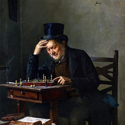 """Isidor Kaufmann The Chess Player - 16"""" x 20"""" Premium Archival Print - 16"""" x 20"""" Isidor Kaufmann The Chess Player premium archival print reproduced to meet museum quality standards. Our museum quality archival prints are produced using high-precision print technology for a more accurate reproduction printed on high quality, heavyweight matte presentation paper with fade-resistant, archival inks. Our progressive business model allows us to offer works of art to you at the best wholesale pricing, significantly less than art gallery prices, affordable to all. This line of artwork is produced with extra white border space (if you choose to have it framed, for your framer to work with to frame properly or utilize a larger mat and/or frame).  We present a comprehensive collection of exceptional art reproductions byIsidor Kaufmann."""