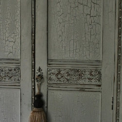 Painted Furniture Finishes & Faux Wood - Specialty faux / furniture finishes on Armoire to match bedroom furniture.  It was a lovely aged French white finish with sweet greens showing through multiple layers of crackle, sanded down for rustic edges.