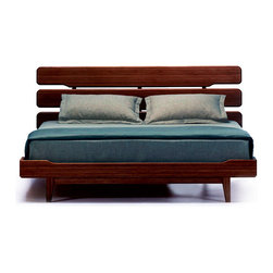 Brandt Platform Bed - Sleep soundly in a stylish environment. Inspired by classic mid-century Danish modern design, these platform beds are crafted out of bamboo with a rich walnut finish. Airy lines and simple elegance bring a sense of openness to your bedroom.