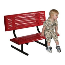 SportsPlay Early Years Bench with Back - The perfect addition for any park or playground the SportsPlay Early Years Bench with Back offers durable outdoor seating for children. This kid-sized bench features a perforated thermoplastic-coated steel seat and back. The support legs are made of 1.625-inch powder-coated galvanized steel tubing. The thermoplastic coating on the entire bench and frame offers incredible protection from the outdoor elements. The perforated design allows water to drain off easily and the smooth beveled edges keep children safe and comfortable.The seat reaches a kid-friendly height of only 12 inches which makes it easy for children to get on and off the bench. Choose from a variety of stylish colors and either a black or silver frame to complement any commercial or residential setting. Some assembly is required.More about SportsPlay's thermoplastic coating: SportsPlay has eliminated the use of PVC in all of their steel coatings. Thermoplastic coating offers the following benefits over PVC-based Plastisol materials:Superior adhesions. SportsPlay's thermoplastic coating is sprayed directly onto the metal where it hardens and bonds to the surface smoothly.Better UV protection and color retention. Thermoplastic will not discolor and fade as easily as Plastisol does.Abrasion resistance and weatherability. The bond between the plastic and the metal provides less chance of damage. If a product does become scratched or chipped it can be easily remolded and repaired onsite with a heat gun or hand torch.SportsPlay's thermoplastic coating contains no harmful PVC's. Thermoplastic is derived from natural gases and releases only organic elements into the environment.About SportsPlay EquipmentFrom early childhood to early teens SportsPlay offers a broad range of fun value added products manufactured for quality and long-term performance. Their mission is to provide fun equipment of exceptional safety durability and value on the playground and in the neighborh