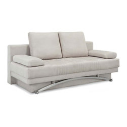 Victoria Ivory Microfiber Convertible Sofa - The contemporary and streamlined Victoria Ivory Microfiber Convertible Sofa comes in handy when you need to provide additional seating or put up overnight guests. This convertible sofa features an ivory microfiber-covered firm and sturdy wood and metal construction. This sofa's updated elegance makes it a wonderful addition to your living room.