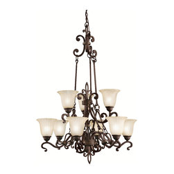 Kichler 9-Light Chandelier - Carre Bronze - Nine Light Chandelier. The wilton collection sets a new standard for quality and attention to detail. Intricate scrollwork and rich carre' bronze finish accents the antique barley, tulip-shaped glasswork. This strong 2-tier, 9-light chandelier makes an unforgettable impression. 100-w. Max. Width 34, body height 45, overall 119. Extra lead wire 71, 6' chain. For additional chair order no. 4901 cz.