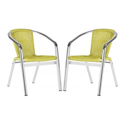 Safavieh - Wrangell Indoor-Outdoor Stacking Armchair - A modern iteration of the fan back chair, the citrus green Wrangell indoor-outdoor stacking armchair is designed for entertaining in style.  Guests will love this comfortable chair, crafted of PE wicker and aluminum weather-resistance and easy care.
