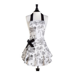 Jessie Steele - Jessie Steele Cafe Toile Bib Josephine Apron - Jessie Steele Cafe Toile Bib Josephine Apron. Celebrate Parisian cafe culture with the chic Cafe Toile Bib Josephine Apron from Jessie Steele. Crafted from fine cotton fabric, this bib apron features a whimsical, toile-style design. Black-and-white drawings of French presses and cafe tables create a playful look, while a removable grosgrain-ribbon bow adorns the side pocket. Use it to keep your favorite outfit clean, or gift it to a friend to make her the hostess with the mostest.Ties at waist and neckSide pocket with removable grosgrain-ribbon bowMade in China