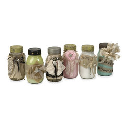 iMax - iMax Mason's Vintage Jars - Set of 6 X-6-11027 - Adding a vintage touch to any room, this set of six revamped jars have painted interiors and are wrapped in lace, tulle, ribbon, burlap and embellished with a mix of Shabby Chic elements.