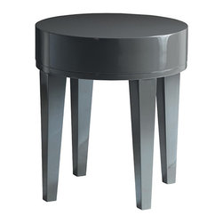 Kathy Kuo Home - Garmond Modern Charcoal Grey Lacquer Round Small Side Table - Limited Quantities.