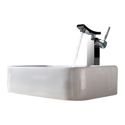 Kraus - Kraus C-KCV-122-14300CH White Rectangular Ceramic Sink and Unicus Faucet - Add a touch of elegance to your bathroom with a ceramic sink combo from Kraus
