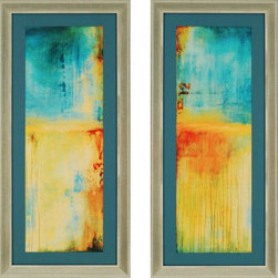 Paragon Decor - Lazy Sunday Set of 2 Artwork - Abstract in colors of turquoise and yellow give a subtle sense of relaxation.