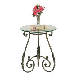 Welcome Home Accents - Round Leaf Side Table - Round side table features tripod scrolled legs with support a removable glass table top. Glass secures to table using clear suction cups which are included.Legs feature an acanthus leaf motif design, finial on bottom stretcher and oiled rubbed bronze finish. Assembly required. Dust with a dry cloth.