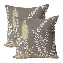 India House Brass, Inc. - Leaf Gray 20-Inch Square Embroidered Pillow - - Whether you are looking for plain or fancy, modern or traditional, our decorative pillows are just the right combination.   - The shell is made of 100% cotton and the filling is 100% polyester.  India House Brass, Inc. - 83152