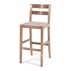 Gingko - Big Sur Bar Stool, Natural Walnut - Hold onto your seats. Handmade from gorgeous solid walnut, this sexy bar-height stool features graceful legs with sturdy stretchers, a lightly curved back and a soft padded seat. It's also available in dark or natural finishes — so you can pick your seats with ease.