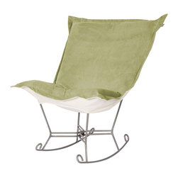 Howard Elliott - Bella Puff Scroll Rocker - Titanium Frame - If you have ever sat in our Puff Chair, you would ask yourself, hat could possibly make this chair more comfortable? Well the Puff Chair in our Bella Fabric is the answer. This super lush fabric in rich vivid colors will make the Puff Chair THE most comfortable and soft chair you have ever sat in!