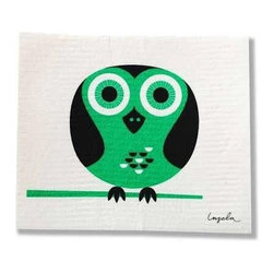 Swedish Dishcloth Modern Retro Owl - THE SWEDISH ECO-FRIENDLY DISHCLOTH: The dry sponge cloth was invented in 1949 by the Swedish engineer Curt Lindquist, who discovered that a mixture of natural cellulose (wood pulp) and cotton can absorb an incredible 15 times its own weight in water.