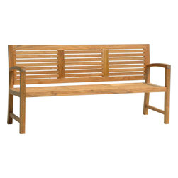 AquaTeak - 6' SOLID TEAK OUTDOOR BENCH - FROM THE AQUA HORIZON COLLECTION - The contemporary design of this beautiful 5-foot solid teak patio bench makes it perfect for use as a functional and beautiful décor element in any location around your home. Whether placed indoors or outdoors, you'll love this large teak bench from Aqua Teak's Aqua Horizon Collection. Naturally water resistant, the patio bench was handcrafted using highly durable solid teak wood and will hold up exceptionally well over time. All Aqua Teak products come with a 30 day satisfaction guarantee and 5 year warranty!