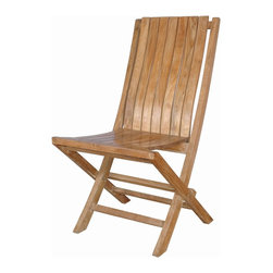 Anderson Teak - Comfort Folding Chair - The folding chair in beautiful unfinished natural teak. This simple, lovely chair offers pleasure and comfort with each use. It comes 2 chairs per order. Cushion is optional and is being made by order.