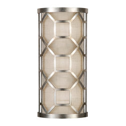 Fine Art Lamps - Allegretto Silver Sconce, 816750GU - Sconce in a platinized silver leaf finish with subtle brown highlights and white textured linen shade. Also available in gold leaf finish.