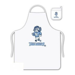 Sports Coverage - North Carolina Tarheels Tailgate Apron and Mitt Set - Set includes your favorite collegiate North Carolina University Tarheels screen printed logo apron and insulated cooking mitt. White apron with white silver backed mitt. Both items are logoed. Tailgate Kit apron and mit is 100% cotton twill with screenprinted logo.