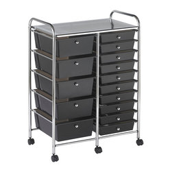 Ecr4kids - Ecr4Kids 15 Drawer Mobile Organizer (Smoke) - This practical organizer can hold just about everything from art and crafts projects to office supplies or even hand tools With its 15 drawers, its perfect for the home or office. Polypropylene drawers easily slide in and out on the chrome plated steel frame rails. This double-wide, multi-purpose organizer glides effortlessly under most tables or desks on 6-swivel casters (2-locking).
