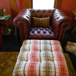 Hickory Club chair, thrift store find (after many, many baths!) with yard sale o -