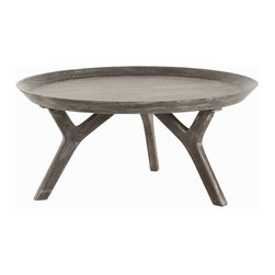 "Arteriors - Arteriors Home - Emmett Cocktail Table - 2485 - This light gray parsons wood table Features: a trio of angular legs that evoke a flying buttress construction to support the tray-like round top. Features: Emmett Collection Cocktail Table Some Assembly Required. Dimensions: H 15""x 32"" Dia"