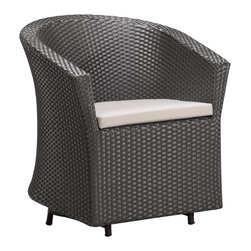 "Zuo - Horseshoe Bay 33 1/2"" High Outdoor Chair - A truly unique outdoor piece the Horseshoe Bay chair has a casual chic style that will elevate any al fresco space. The body of the chair is a black finish UV treated synthetic weave with a reinforced interior aluminum tube frame. The cushions are made of water resistant covers and foam. Black finish. Aluminum tube frame. Synthetic UV weave body. White water resistant cushion. 33 1/2"" high. 28"" wide. 20"" deep.  White water resistant cushion.   Cushion included.  Synthetic UV weave body.   Aluminum tube frame.   Black finish.   33 1/2"" high.   28"" wide.   20"" deep."