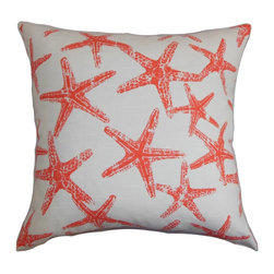 "The Pillow Collection - Ilene Coastal Pillow Red - A coastal-inspired pattern decorates this accent pillow with a splash of bright red hue. This square pillow looks perfect when placed in the living room, bedroom or any room. The contemporary pillow complements a nautical decor style with its fun print. You can easily mix other patterns like animal prints, etc. This 18"" pillow is made of 100% soft and fluffy cotton materials. Hidden zipper closure for easy cover removal.  Knife edge finish on all four sides.  Reversible pillow with the same fabric on the back side.  Spot cleaning suggested."