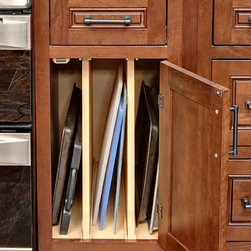 CliqStudios.com - Tray Storage Base - Our tray base cabinet is the perfect kitchen cabinet storage solution for storage of cookie sheets, baking pans, pizza pans and cutting boards. Now these otherwise awkward size items are easy to store and easy to find.