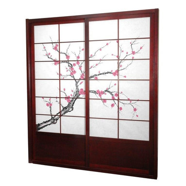 Oriental Furniture - 7 ft. Tall Cherry Blossom Shoji Sliding Door Kit - Rosewood - This fantastic Cherry Blossom Shoji Sliding Door Kit comes with two sliding doors, top and bottom tracks, and right and left door jambs. It is an elegant and subtle way to bring a sophisticated Asian accent to your space.