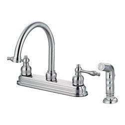 Crystal Cove - Crystal Cove 12-2757 Satin Nickel Kitchen Faucet w/ Sprayer - Hi-Rise Goose Neck Swiveling Spout