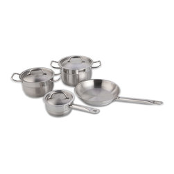 """Berghoff - Berghoff Hotel Cookware Set 7-Piece - Set includes: 6.25""""(1.7qt) covered saucepan, 8""""(3.8qt) covered casserole, 10""""(6.8qt) covered stockpot, and 10.25"""" frying pan. 18/10 stainless steel 1mm wall thickness. Matt finish on bottom of inside and outside. Practical pouring rim, 4-layer capsule base for a lifetime of cooking perfection. Stainless steel handles with a firm and safe grip. Suitable for all heat sources."""