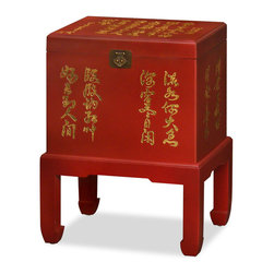 China Furniture and Arts - Chinese Calligraphy Trunk on Stand - A special place for keepsakes, or used as file cabinet, and meanwhile functions as a small side table, a trunk has great practical value inside and out. Artistically it is also a treat for the eye. This trunk is hand-painted with golden coromandel Chinese calligraphy that floats with energy. The trunk rests on a stand with curved-in horse-hoof legs. Matte Chinese red finish.