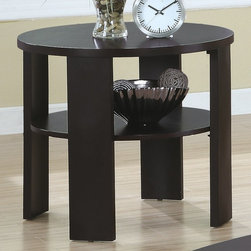 Monarch - Contemporary Round End Table in Cherry - Contemporary Round End Table in Cherry