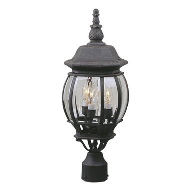 Exteriors - Exteriors Cast Aluminum French Style Traditional Outdoor Post Lantern Light X-50 - Elegant leafy details compliment the elongated finial and charming spherical shape of this beautiful Craftmade outdoor post lantern light. The French influencing accentuates the eye-catching design, adding to its overall appeal. It also features clear beveled glass panels, candelabra lights and your choice of two different finishes.