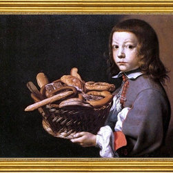 "Evaristo Baschenis-18""x24"" Framed Canvas - 18"" x 24"" Evaristo Baschenis Boy with a Basket of Bread framed premium canvas print reproduced to meet museum quality standards. Our museum quality canvas prints are produced using high-precision print technology for a more accurate reproduction printed on high quality canvas with fade-resistant, archival inks. Our progressive business model allows us to offer works of art to you at the best wholesale pricing, significantly less than art gallery prices, affordable to all. This artwork is hand stretched onto wooden stretcher bars, then mounted into our 3"" wide gold finish frame with black panel by one of our expert framers. Our framed canvas print comes with hardware, ready to hang on your wall.  We present a comprehensive collection of exceptional canvas art reproductions by Evaristo Baschenis."